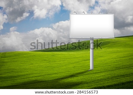Countryside landscape with a billboard sign