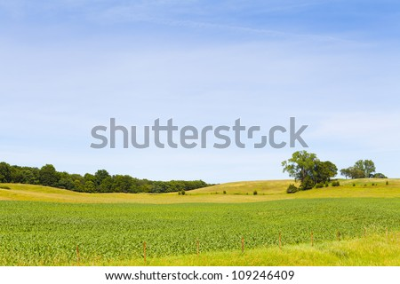 Countryside Landscape With Blue Sky