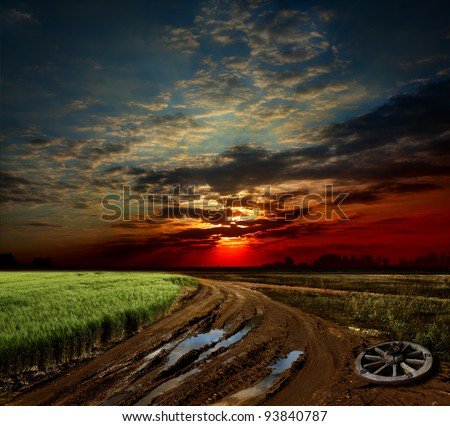 countryside landscape with dirt ...