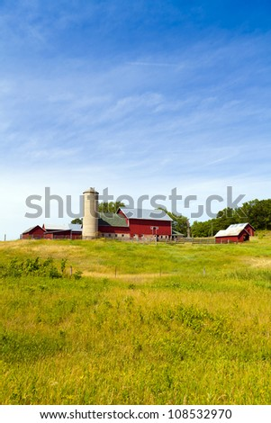 Countryside Landscape with Farm