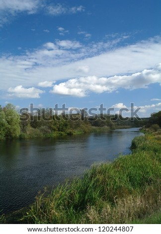 countryside landscape with river