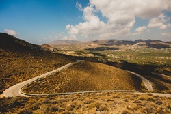 Countryside road in mountains of Heraklio, Crete, Greece