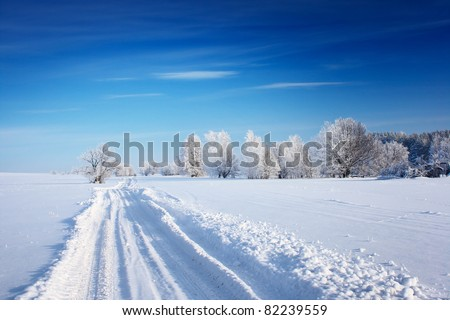 Countryside road through winter field with forest on a horizon