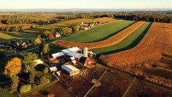 Countryside scenery at Fall season. Autumn colors. Harvest, harvesting time. Rural landscape. Aerial, view from above of the Farm
