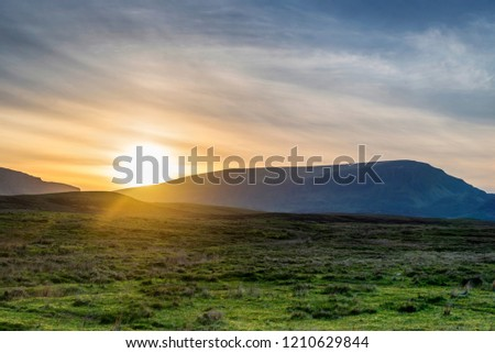 countryside scenery of the area around Staffin in the isle f Skye  Stok fotoğraf ©