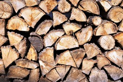 Countryside scenery, piles of firewood