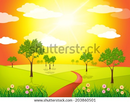 Countryside Sunny Representing Green Grass And Grassland