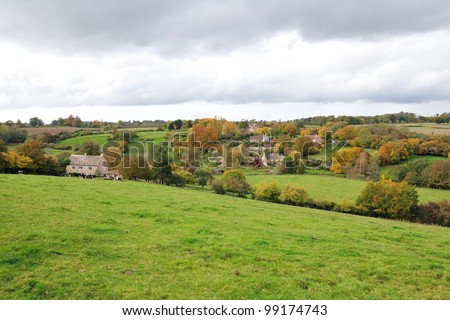 Countryside View of a Green Field in the Frome Valley on the Somerset Wiltshire Border Near the City of Bath in England