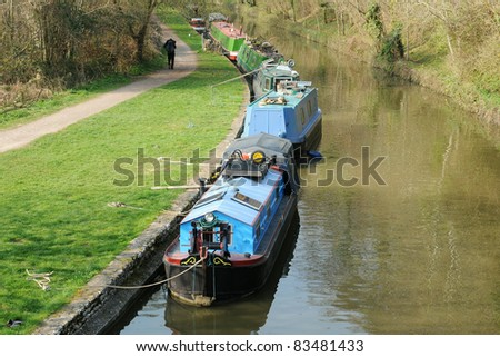 Countryside View of Canal Boats on the Kennet and Avon Canal near Bath in Somerset England