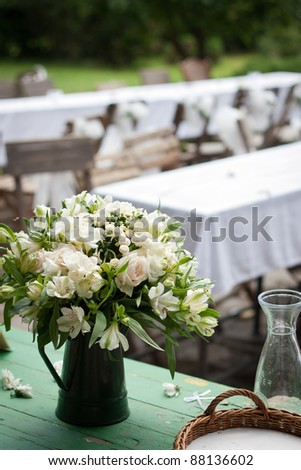 Countryside wedding reception: close-up of the wedding bouquet