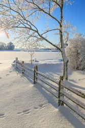 Countryside winter landscape with snow