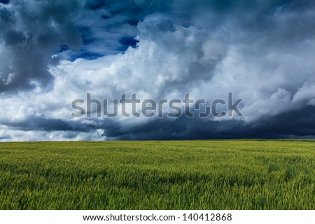 Countryside with wheat field and ominous stormy sky