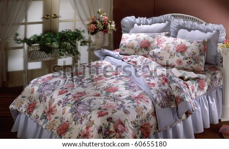 Counttry bed set with window and plants