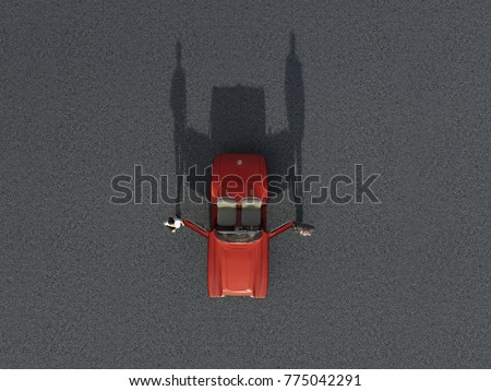 couple and cabriolet, aerial view, 3d illustration
