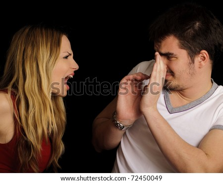 Couple arguing, girl yelling at her boyfriend