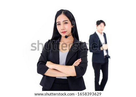 Couple Asia call center workers or Confident business  with headset,Customer support standing on white background.