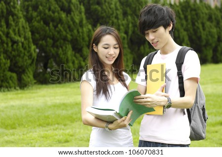 Couple asian college student at a campus
