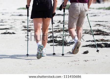 couple at nordic walking