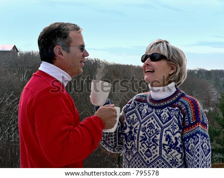 Couple at ski resort
