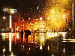 Couple at the rain at the city