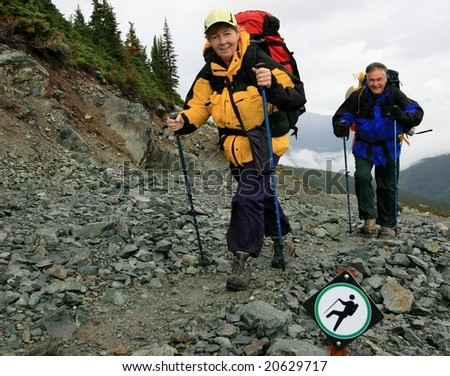 Couple backpacking near Whistler, British Columbia, Canada.