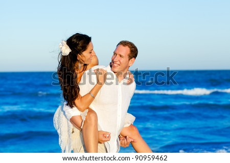 couple beach vacation in honeymoon trip on Mediterranean