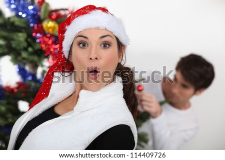 couple celebrating Christmas