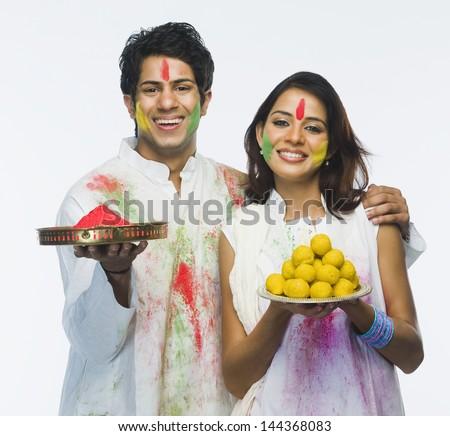 Couple celebrating Holi