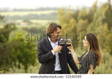Couple celebrating in the country