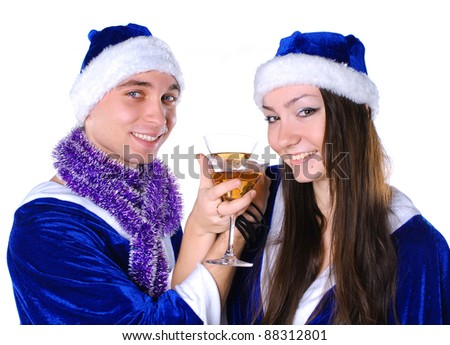 Couple celebrating xmas