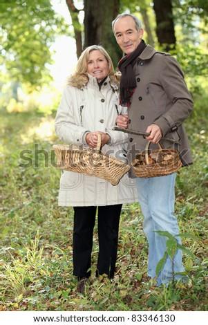 Couple collecting wild mushrooms