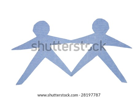 Couple connected together on white
