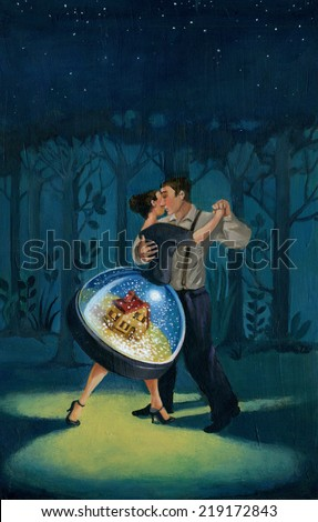 couple dancing in a forest at night and the skirt of the woman has their home