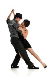 Couple dancing Tango isolated on a white background