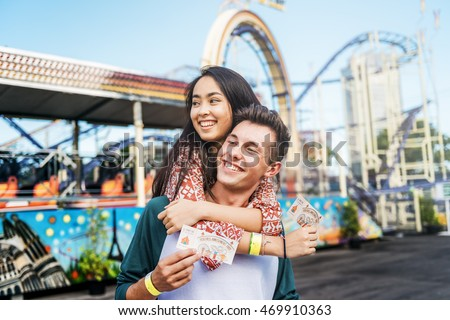 Couple Dating Fun Park Enjoyment Amusement Concept Stock photo ©
