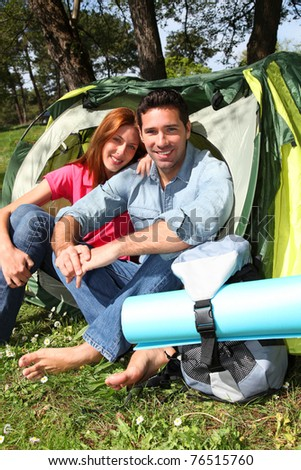 Couple doing camping in summer