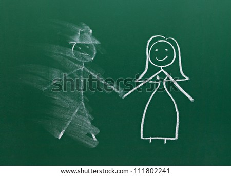 couple drawing on chalk board