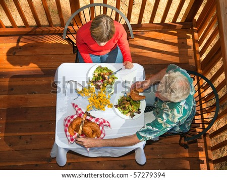 Couple Eating Brunch in an Outdoor Cafe.