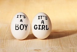 couple eggs with conceptual inscriptions