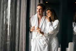 Couple enjoying wellness weekend and serene moments together
