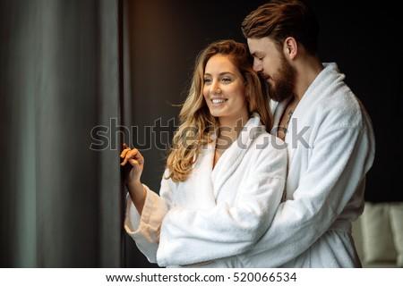 Couple enjoying wellness weekend and spa Stock foto ©