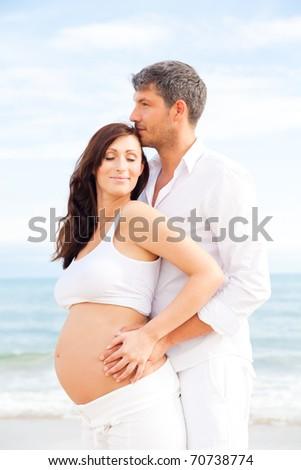 Couple expecting baby and man his fatherhood
