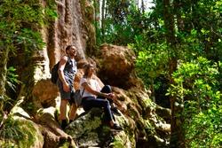 Couple exploring in the lush Lamington National Park, Queensland, Australia