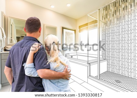 Couple Facing Bathroom Drawing Gradating To Photo. Foto d'archivio ©