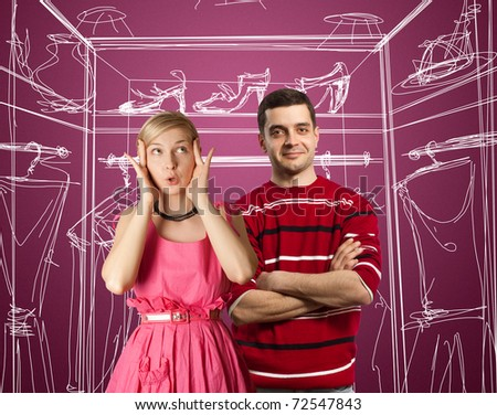 couple female in pink and male in red
