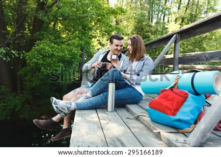 couple goes hiking, forest, recreation, love, active lifestyle
