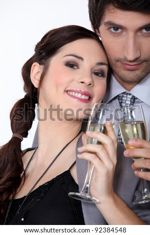 Couple having a celebratory drink