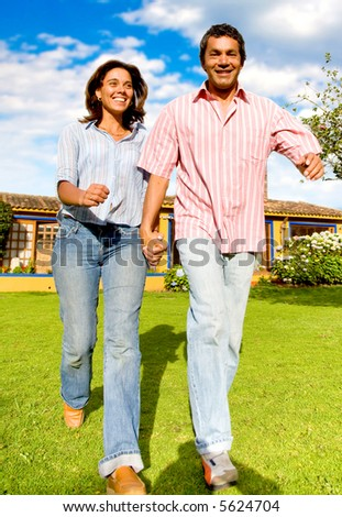 couple having a fun walk in the park
