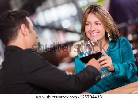 Couple having a romantic dinner at the restaurant