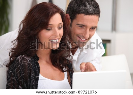 Couple having a video conference on the internet
